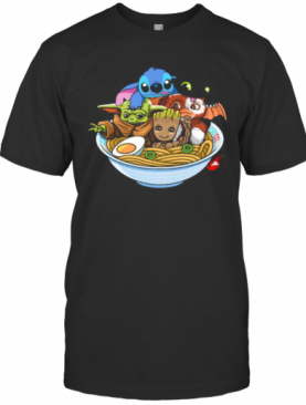Stitch Toothless Baby Yoda And Baby Groot In Noodle T-Shirt