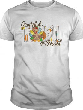 Turkey Leopard Grateful Thankful and Blessed shirt