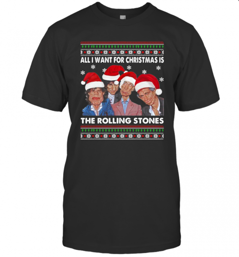 All I Want For Christmas Is Santa The Rolling Stones Ugly Christmas T-Shirt Classic Men's T-shirt