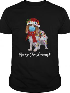 Cavalier King Gorgeous Face Mask Merry Christ Christmas Light shirt