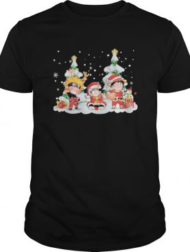 Chibi Naruto Son Goku and Monkey D Luffy Merry Christmas shirt