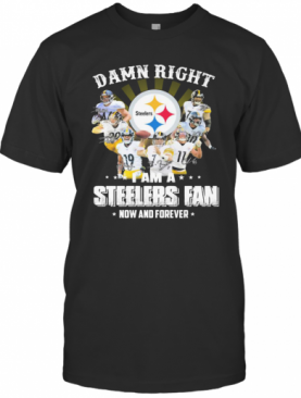 Damn Right I Am A Pittsburgh Steelers Fan Now And Forever Signature T-Shirt