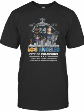 Kobe Bryant Lebron James Los Angeles Vs Corey Seager LA Dodgers City Of Champions 2020 Signature T-Shirt