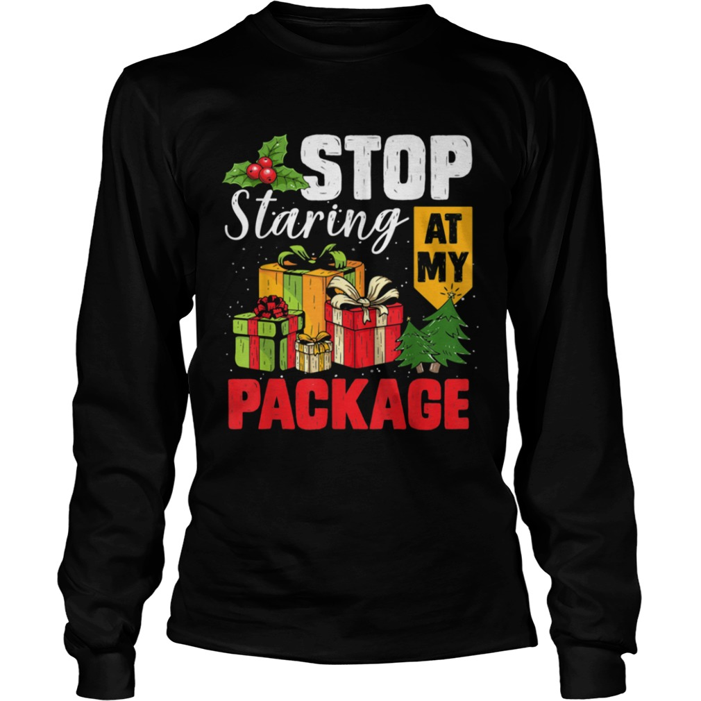 Stop Staring At My Package Christmas Tree Long Sleeve