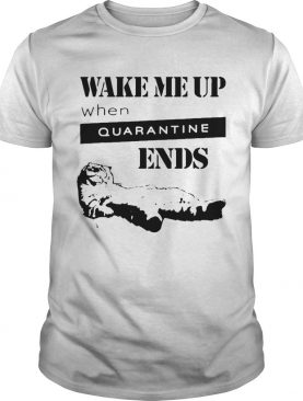 Tired cat says wake me up when quarantine ends us 2020 shirt