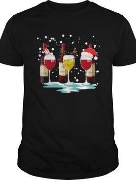 Wine Glass Snowman Reindeer Santa Christmas shirt