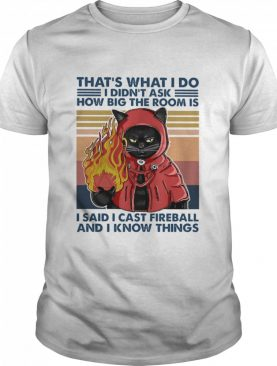 Black Cat fire thats what I do I didnt ask how big the room is I said I cast fireball and I know things vintage shirt