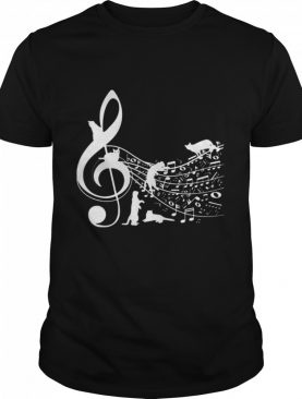 Cat and note music shirt