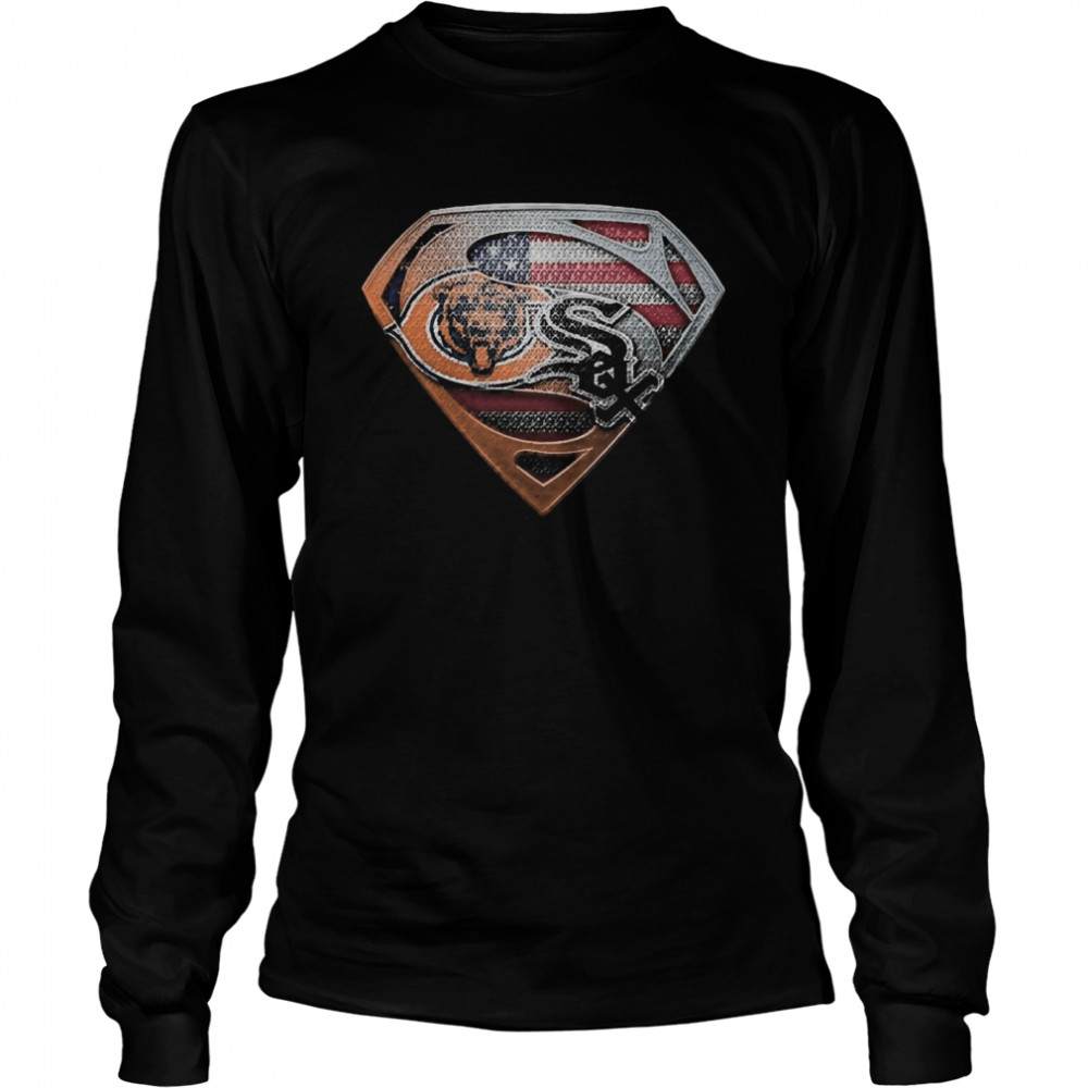Chicago bears and chicago white sox american flag  Long Sleeved T-shirt