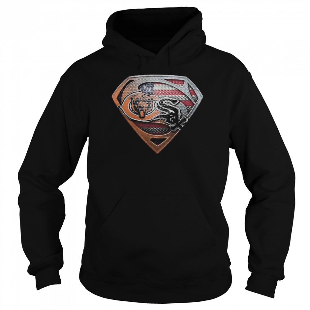Chicago bears and chicago white sox american flag  Unisex Hoodie