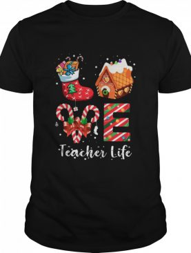 Love Teacher Life Merry Christmas Sock Gift shirt