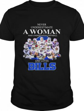 Never Underestimate A Woman Who Understands Football And Loves Bills Symbol Buffalo shirt