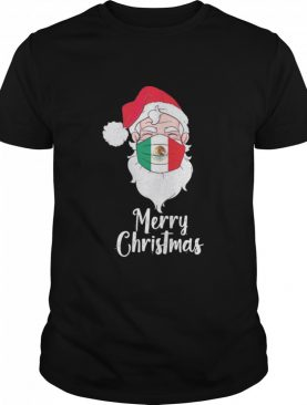 Santa Claus Face Mask Bandera De Mexico Flag Merry Christmas shirt