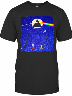 Snoopy Woodstock And Friend Watching Moon Pink Floyd T-Shirt