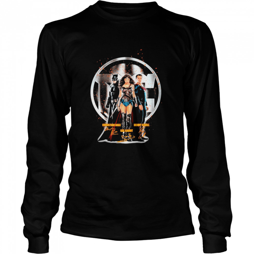 The Marvel Christian Bale Gal Gadot Henry Cavill signature  Long Sleeved T-shirt