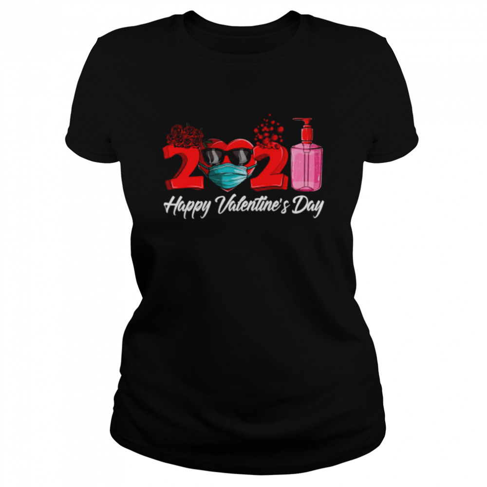 2021 Face Mask Happy Valentines Day Classic Women's T-shirt