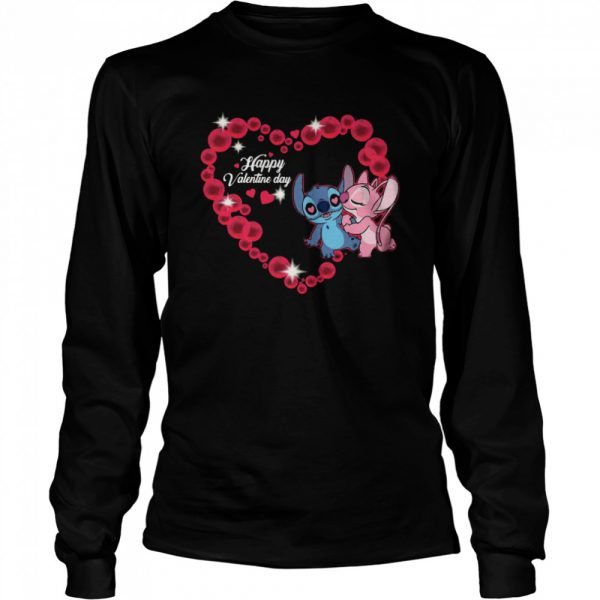 Disney Stitch And Lilo Happy Valentine Day  Long Sleeved T-shirt