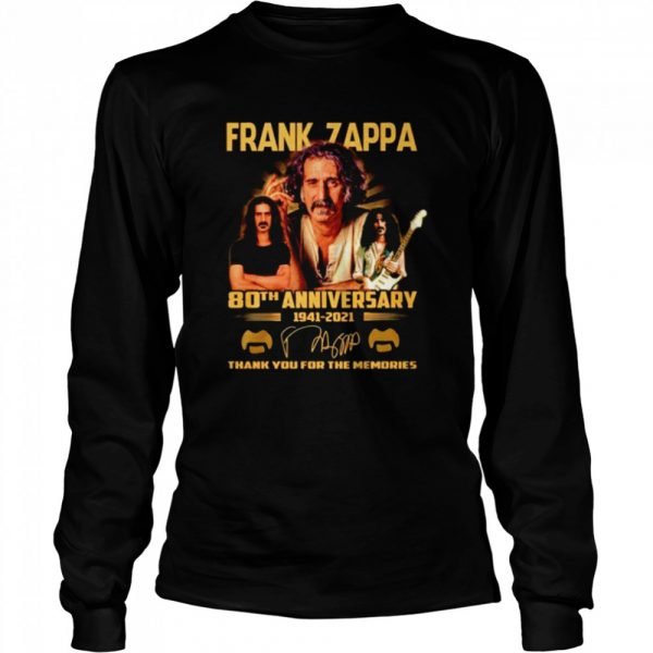 Frank Zappa 80th anniversary 1941 2021 thank you for the memories  Long Sleeved T-shirt