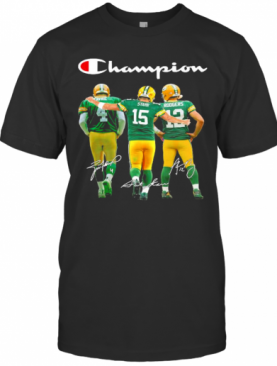 Green Bay Packers Favre Starr Rodgers Champions Signatures T-Shirt