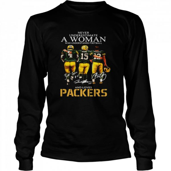 Never Underestimate A Woman Who Understands Football And Loves Packers Favre And Starr And Rogers  Long Sleeved T-shirt