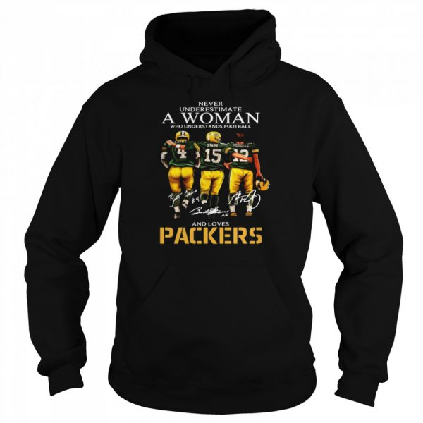 Never Underestimate A Woman Who Understands Football And Loves Packers Favre And Starr And Rogers  Unisex Hoodie