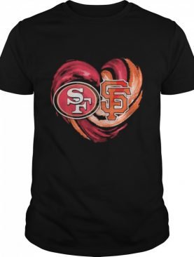 San Francisco 49ers and san francisco giants heart shirt