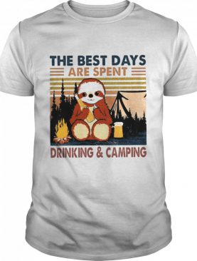 Sloth Hug Beer The Best Days Are Spent Drinking And Camping Vintage shirt