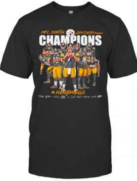 Steelers 2020 AFC North Division Champions Here We Go Signatures T-Shirt