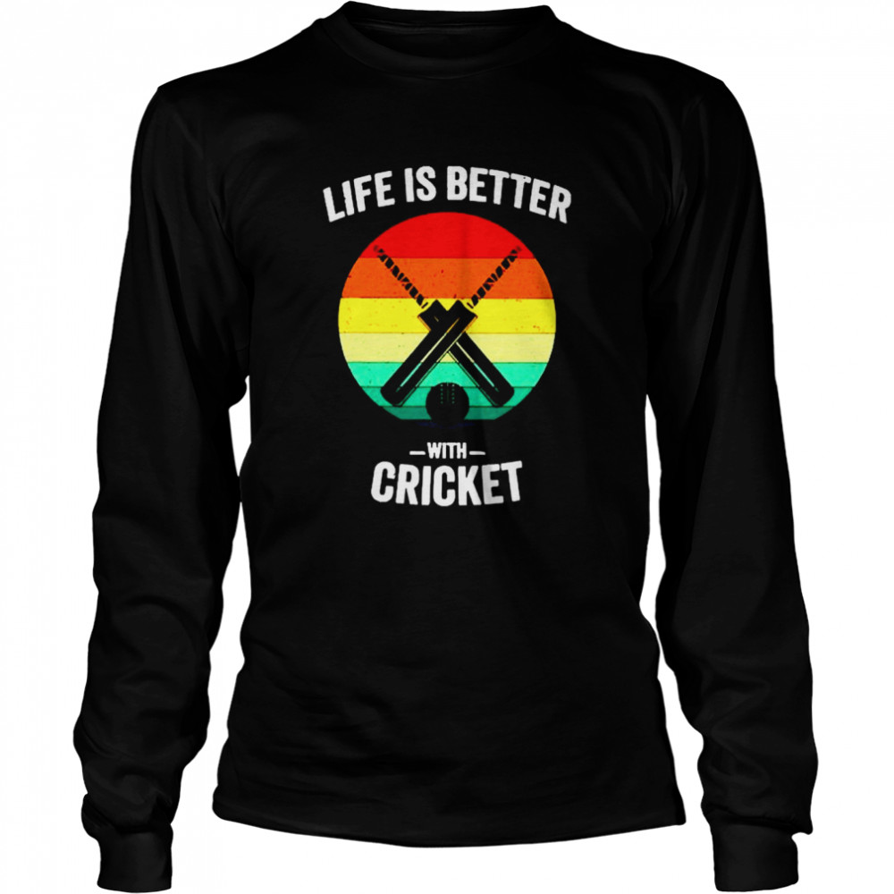 Vintage Life is Better with cricket Long Sleeved T-shirt