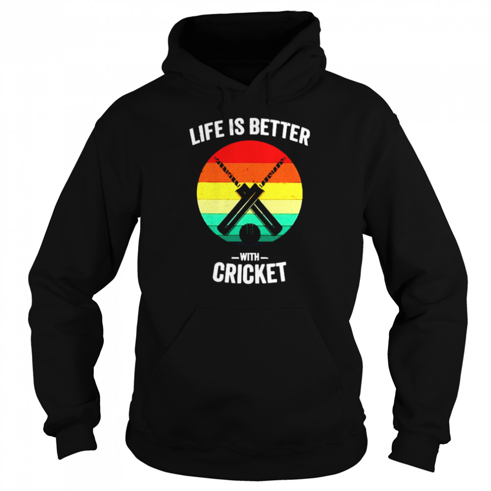 Vintage Life is Better with cricket Unisex Hoodie