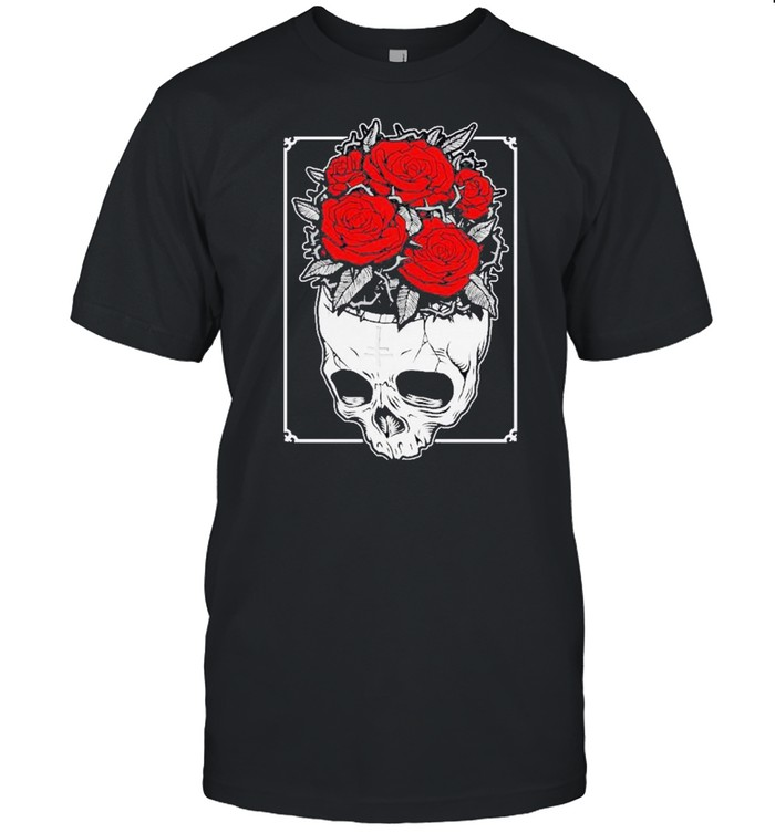 Wearing to a human being a beautiful black and white a skull roses shirt